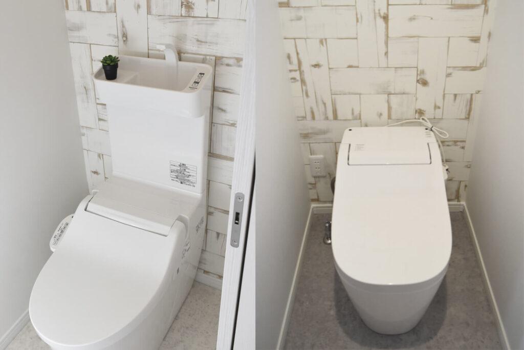 ナチュラルテイストの壁紙をあしらったトイレ