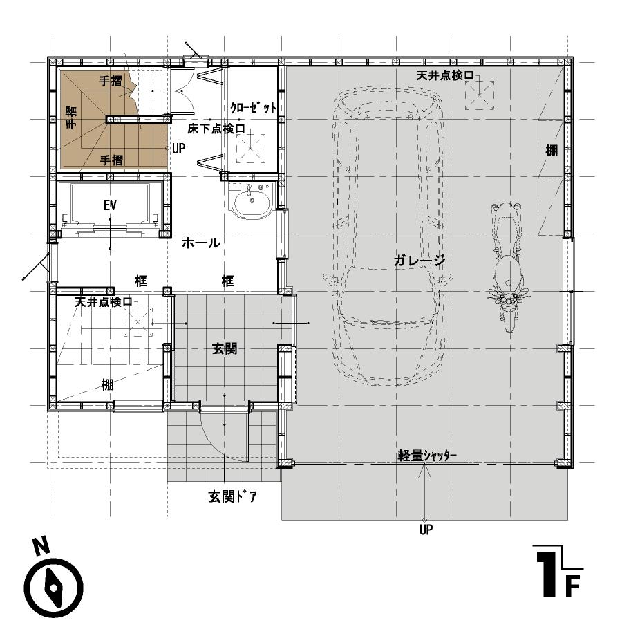 屋上のある家:平面図:1F