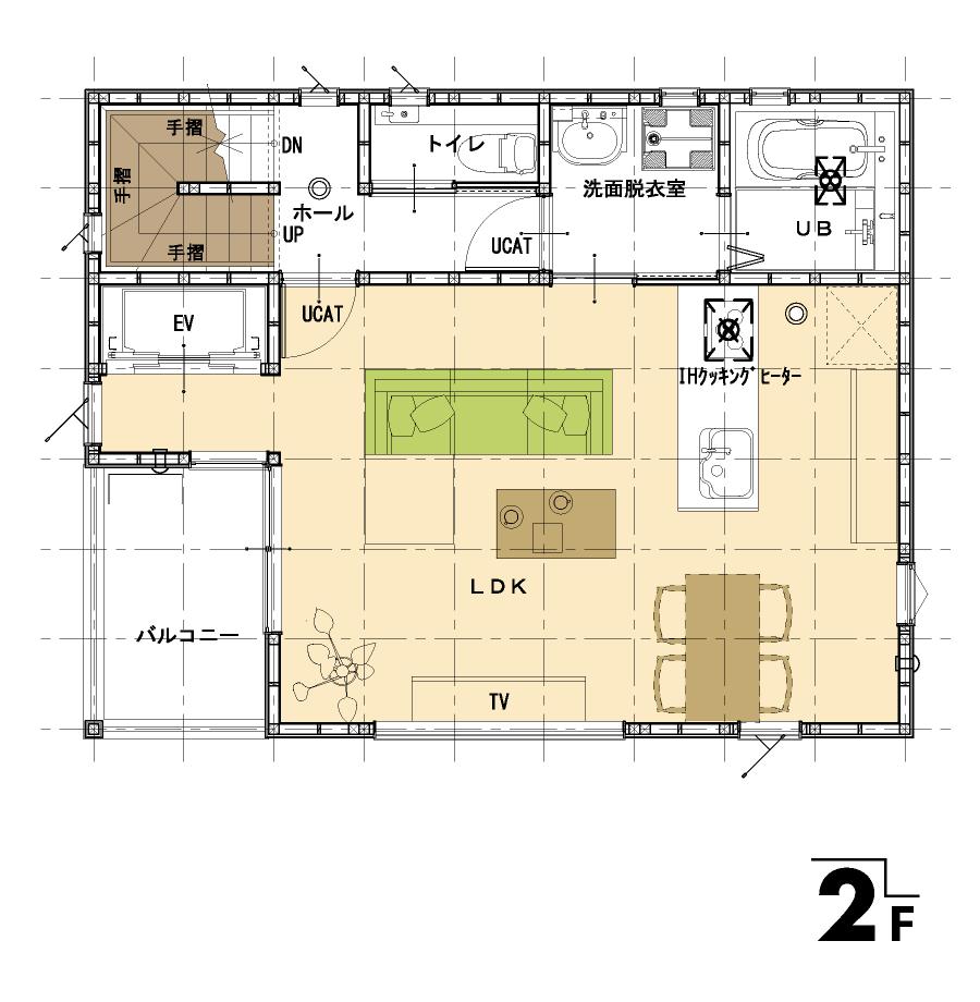 屋上のある家:平面図:2F